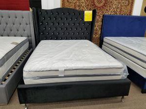 No credit needed Black Velvet high quality rhinestone queen size platform bed frame only for Sale in Beltsville, MD