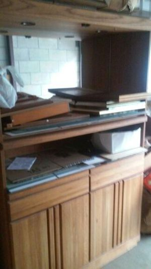 lighted oak cabinet with mirror back extra shelf storage below for Sale in Columbus, OH