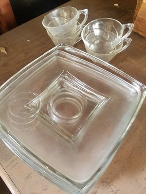 Vintage glass plate w cup for Sale in Glendora, CA