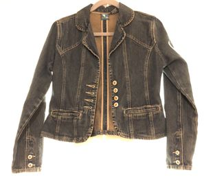 Women's Petite Medium Tailored Denim Jean Jacket with Jewel Buttons for Sale in Gaithersburg, MD