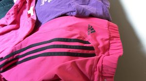 Small and medium-sized Sparkly tops with size 7/8 girls Adadias Climalite pants hot pink polyester spandex material. No snags for Sale in Spokane, WA