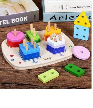 Wooden Educational Shape Color Recognition Geometric Board Block Stack Sort Chunky Puzzle Toys Gift for Age 3 and Up Kid Baby Boy Girl for Sale in Hyattsville, MD