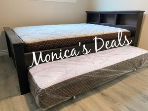 Full size solid wood bed & twin roll out $380 for Sale in Lynwood, CA