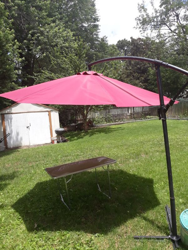 Offset-umbrella large outdoor adjustable parasol W/cantileve base stand best sun Uv protection for gardon,patio,lawn,beach,backyard,pool,10ft