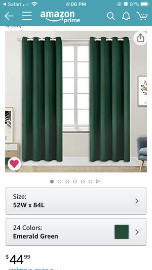 Two sets of Emerald Green curtains for Sale in Denver, CO