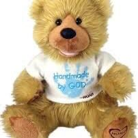 """Great Christmas Present-Chantilly Lane Noah """"Hand Made By God"""" Bear 12"""" With Blue Writing"""