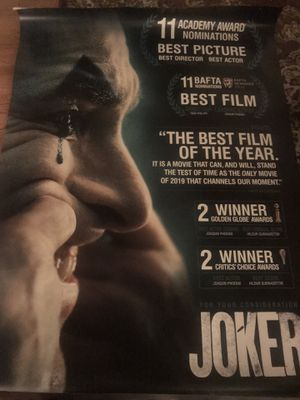 """The Joker """"For your consideration Movie Bus Shelter Poster 4' x 6' RARE for Sale in Los Angeles, CA"""
