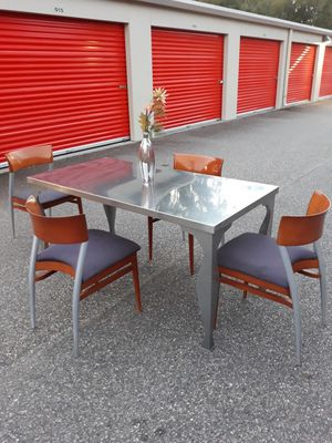 Genuine Stainless Steel Dining/Kitchen Table with 4 Matching Danish Designed Chairs for Sale in Hampton, VA