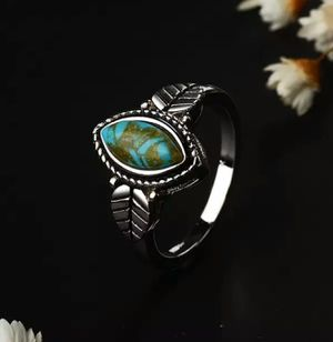Vintage Leaf Turquoise 925 Sterling Silver Ring for Sale in Wichita, KS