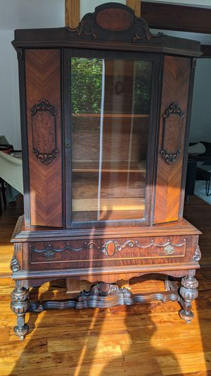 Antique tall wooden buffet with glass door for Sale in Munhall, PA