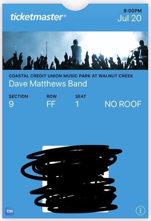 Dave Matthews Band (2) tickets - reserved aisle seats for Sale in Holly Springs, NC