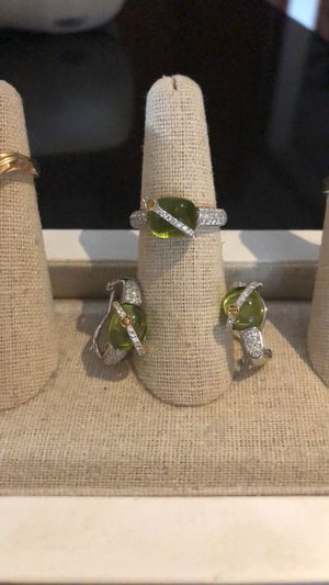 Peridot and diamond ring and earring set for Sale in Poway, CA