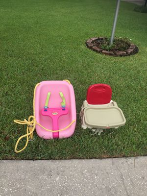 Fisher Price booster chair & little tikes swing for Sale in Lakeland, FL