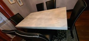 Marble dining table and 6 black lather chairs for Sale in Pittsburgh, PA