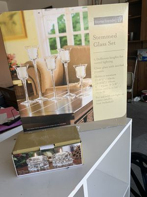 Brand new Stemmed Glass Set and Votive pair for Sale in Henderson, NV
