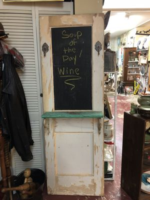 Antique vintage white was shabby chic sheik with shelf old door with hooks and chalk board. 212 North Main Street. BUDA. 🎅🏼Johanna. Antiques furnitu for Sale in Austin, TX