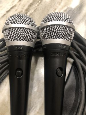 (2) SHURE PGA48 Mocs with xlr an Shure bag for Sale in Fort Lauderdale, FL