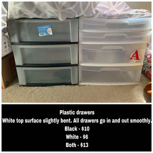Plastic drawers, laundry baskets for Sale in Denver, CO