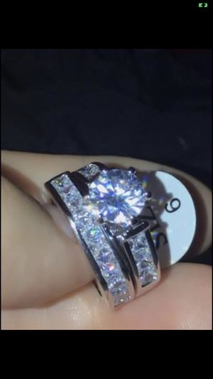 18K white gold filled CZ wedding & engagement ring size 9 for Sale in Los Angeles, CA