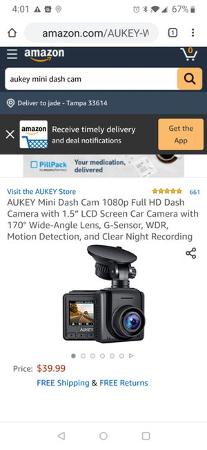 "Mini Dash Cam 1080p Full HD Dash Camera with 1.5"" LCD Screen Car Camera with 170° Wide-Angle Lens, G-Sensor, WDR, Motion Detection for Sale in Tampa, FL"