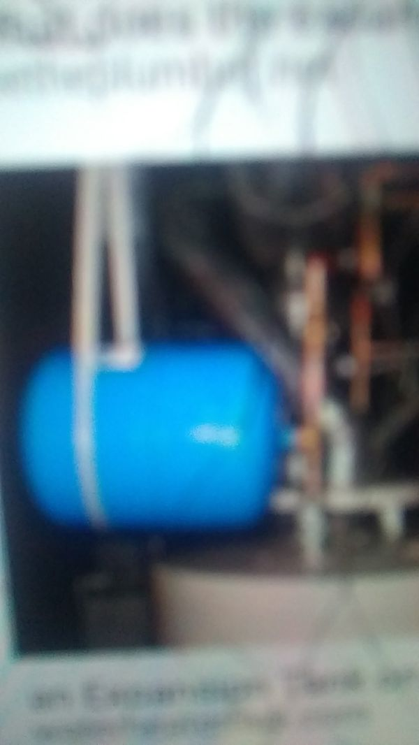 Hot water, expansion tank,unused,a safety for your hot water heater.