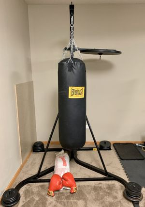 Everlast 80lb stand alone punching bag assembly with boxing gloves. Hardly used. Great for beginners. Condition: Like new for Sale in Shorewood, IL