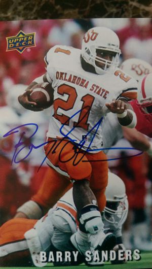 Barry Sanders autograph football card...numbered out of 5!! for Sale in Merrill, WI