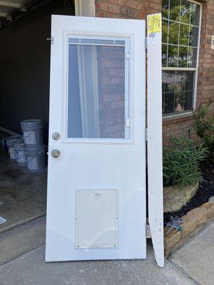 """32"""" x 80"""" Half-light Door w/ pet door for Sale in Fort Worth, TX"""