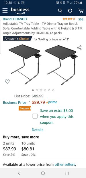 Set of 2 Huanuo Adjustable TV tray tables NEW IN BOX for Sale in Berkeley, CA