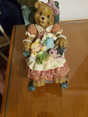 For Bear Collectors New Super Cute Musical Bear in Rocking Chair with a Love Bears all things plaque and a Lg Cute Bear Figurine all for 25.00 for Sale in Las Vegas, NV