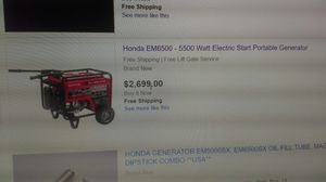 GENERATOR HONDA EM6500-5500 ELECTRIC STAR PORTABLE for Sale in Baltimore, MD