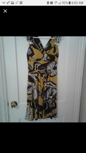 Bisou Bisou Size 10 Brown and Gold Yellow Dress for Sale in Baltimore, MD