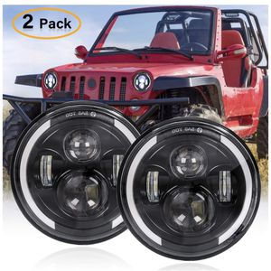 "7"" Round LED Headlights for Jeep Wrangler 2pcs 200W Halo Headlight Angel Eye Ring DRL & Amber Turn Signal Lights High/Low Beam for Jeep Wrangler JK for Sale in San Leandro, CA"