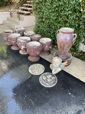 Outdoor Fountain, Grecian Style Cement Planters, Cherub, and stones for Sale in Riverside, CA