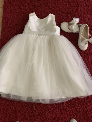 Ivory flower girl dress and shoes for Sale in Garner, NC