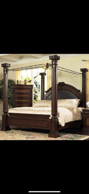 King size poster bed with canopy dresser mirror and nightstand full mirror for Sale in St. Louis, MO