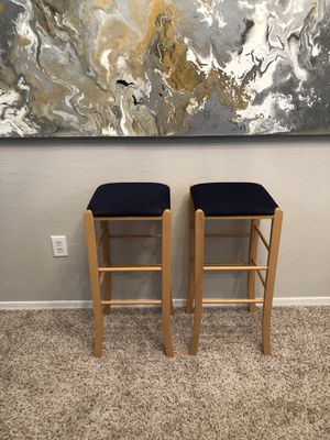 Solid oak wood barstools with brand new Navy Blue covers for Sale in Gilbert, AZ