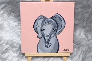 Original Baby Elephant Painting! ✨ for Sale in Brooklyn,  NY