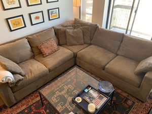 Sectional Crate and Barrel Couch - Coffee Colored for Sale in Chicago, IL