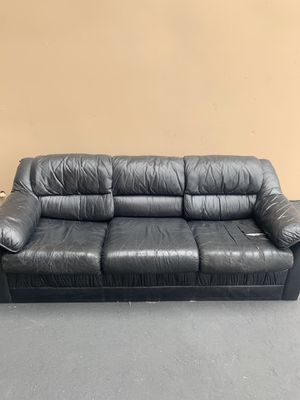FREE couch - black leather (or fake leather) for Sale in Lake Forest, CA