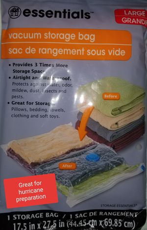 VACUUM STORAGE BAG BRAND NEW !!!GREAT FOR HURRICANE PREPARATION SEE EXAMPLES OF BAG IN USE for Sale in Titusville, FL