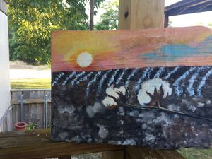 Delta cotton sunset acrylic painting done on wooden slab. for Sale in Indianola, MS