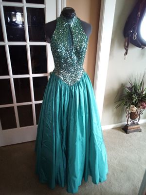 Mike Bennet Full length Formal/Prom/ Evening Dress size 12 Teal Green, for Sale in Canton, MS
