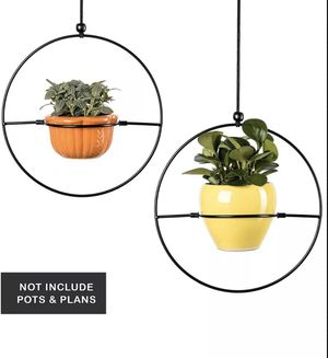 Set of 2. Hanging Planters New Modern Decor 6'' Pot Indoor Outdoor Black for Sale in Robstown, TX