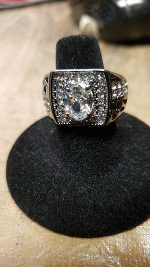 White topaz silver Rhodium plated ring for Sale in Farmville, VA