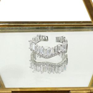 Silver wavy crystal row open ring for Sale in Redwood City, CA