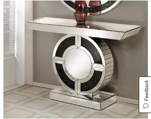 """Noor Console Table Mirrored & Faux Gem Stones (in showroom) $379.00 p3 :47"""" x 14"""" x 31"""" Sophisticated, graceful, elegant style with its unique desig for Sale in Houston, TX"""