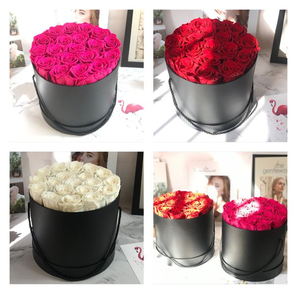 Eternal preserved real rose bouquet box luxury gift for her valentine's Mother's Day heart shape teddy bear jewelry box present gift bag