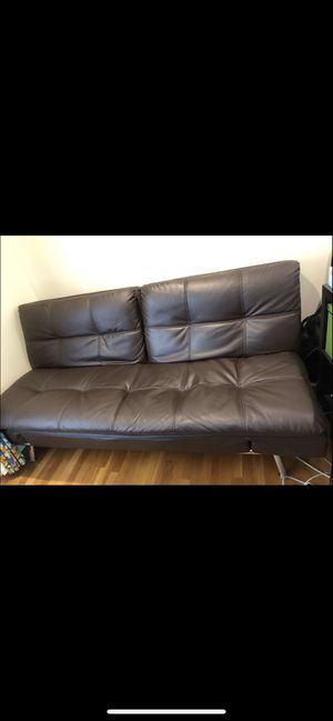 Brown Leather Futon for Sale in Wellesley, MA
