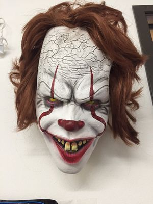 NEW Pennywise the dancing clown halloween mask wig movie character IT horror film costume dress up party for Sale in La Mirada, CA